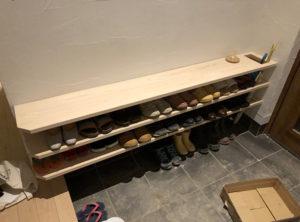 桧の靴箱を作成