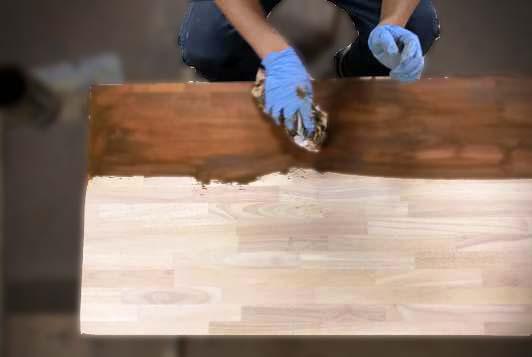 自然塗料塗装してある木材の再塗装|木材通販のマルトクショップ